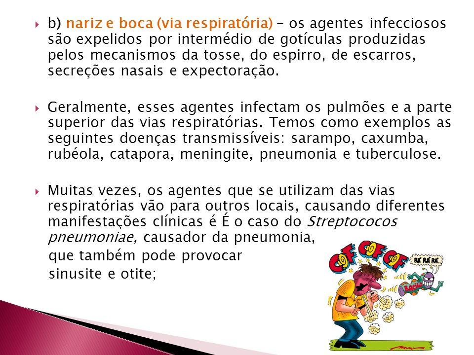 b) nariz e boca (via respiratória) - os agentes infecciosos são expelidos por intermédio de gotículas produzidas pelos mecanismos da tosse, do espirro, de escarros, secreções nasais e expectoração.