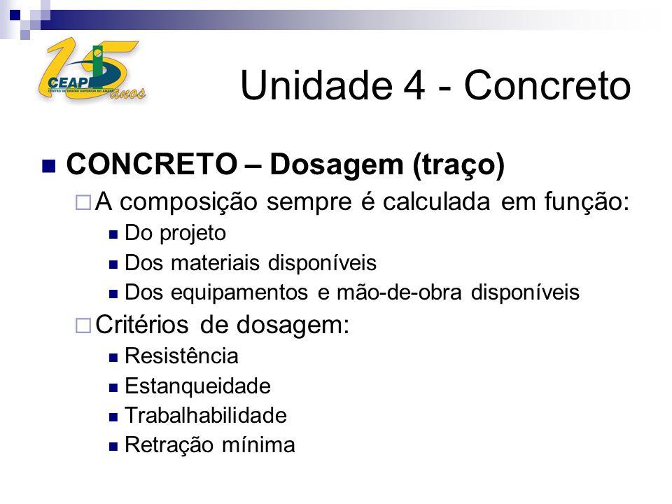 Unidade 4 - Concreto CONCRETO – Dosagem (traço)