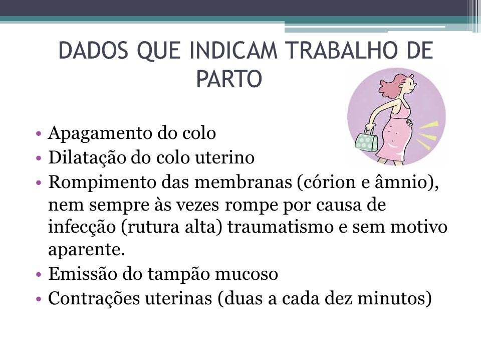 DADOS QUE INDICAM TRABALHO DE PARTO