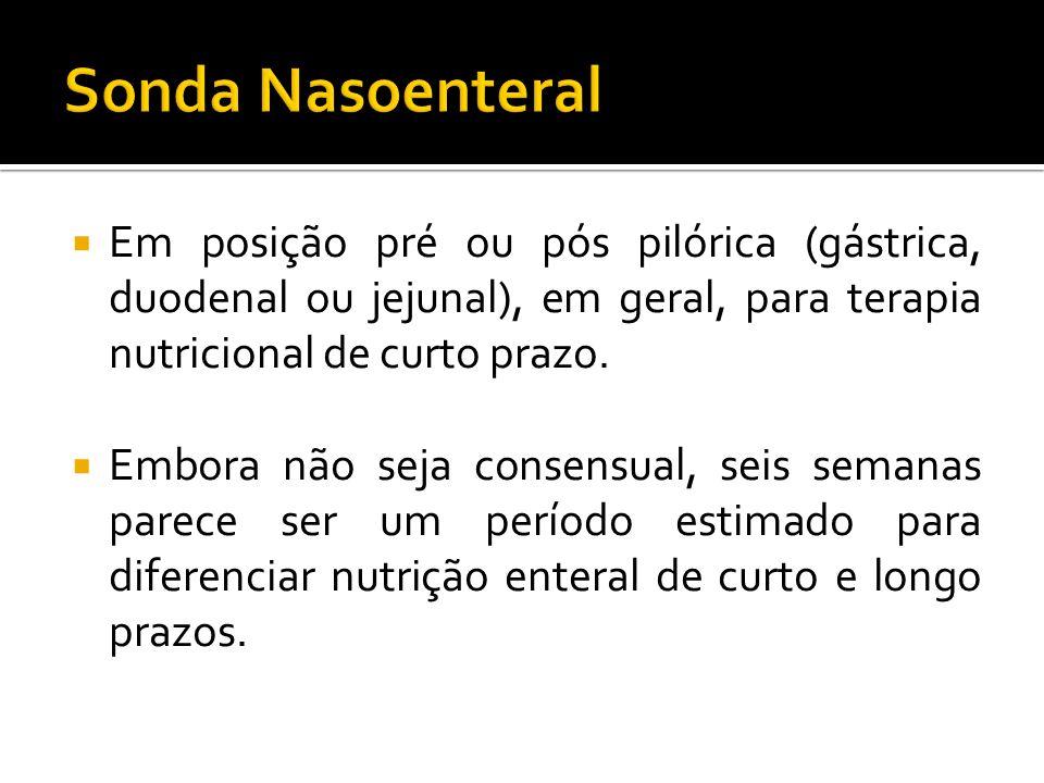 Sonda Nasoenteral Em posição pré ou pós pilórica (gástrica, duodenal ou jejunal), em geral, para terapia nutricional de curto prazo.