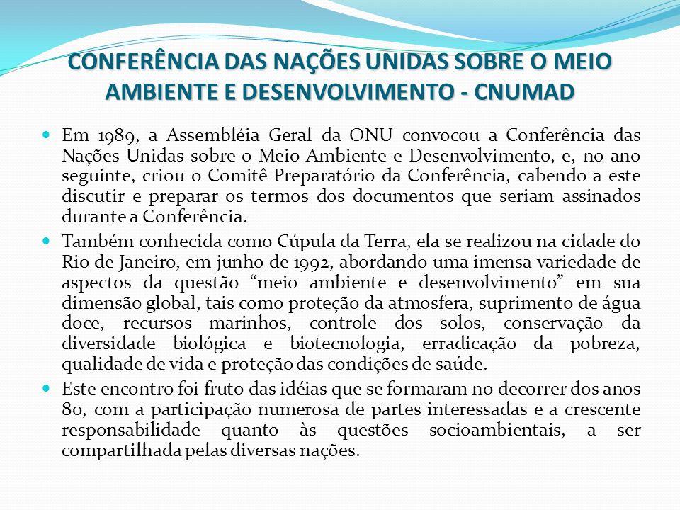 CONFERÊNCIA DAS NAÇÕES UNIDAS SOBRE O MEIO AMBIENTE E DESENVOLVIMENTO - CNUMAD
