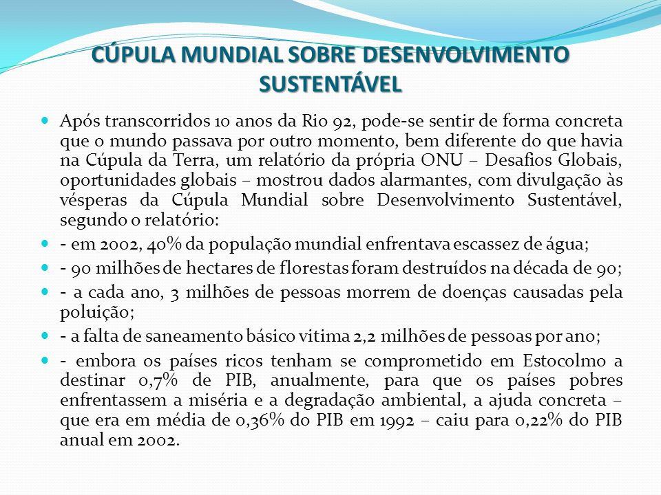 CÚPULA MUNDIAL SOBRE DESENVOLVIMENTO SUSTENTÁVEL