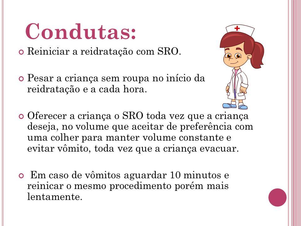 Condutas: Reiniciar a reidratação com SRO.