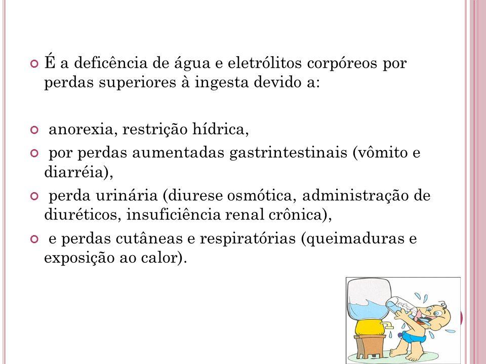 É a deficência de água e eletrólitos corpóreos por perdas superiores à ingesta devido a: