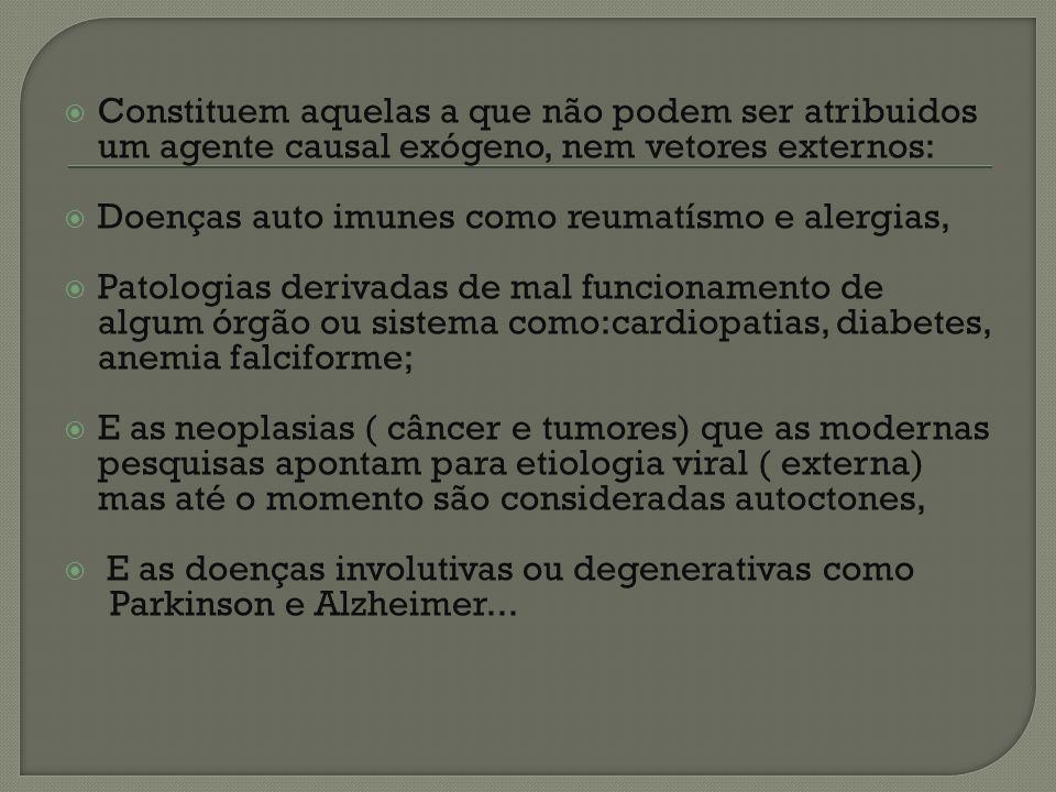 Constituem aquelas a que não podem ser atribuidos um agente causal exógeno, nem vetores externos: