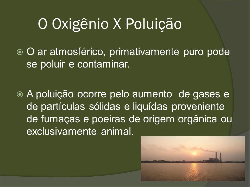 O Oxigênio X Poluição O ar atmosférico, primativamente puro pode se poluir e contaminar.