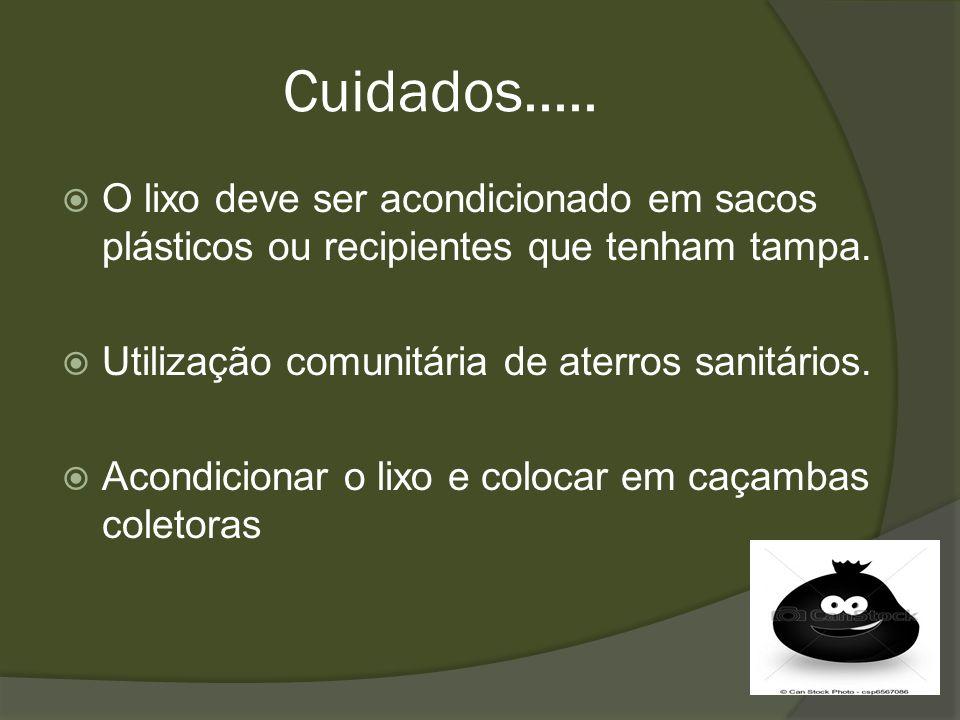 Cuidados.....O lixo deve ser acondicionado em sacos plásticos ou recipientes que tenham tampa. Utilização comunitária de aterros sanitários.