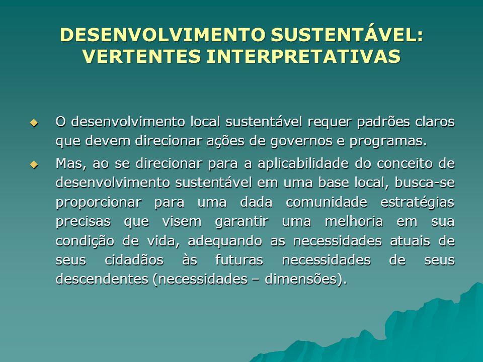 DESENVOLVIMENTO SUSTENTÁVEL: VERTENTES INTERPRETATIVAS