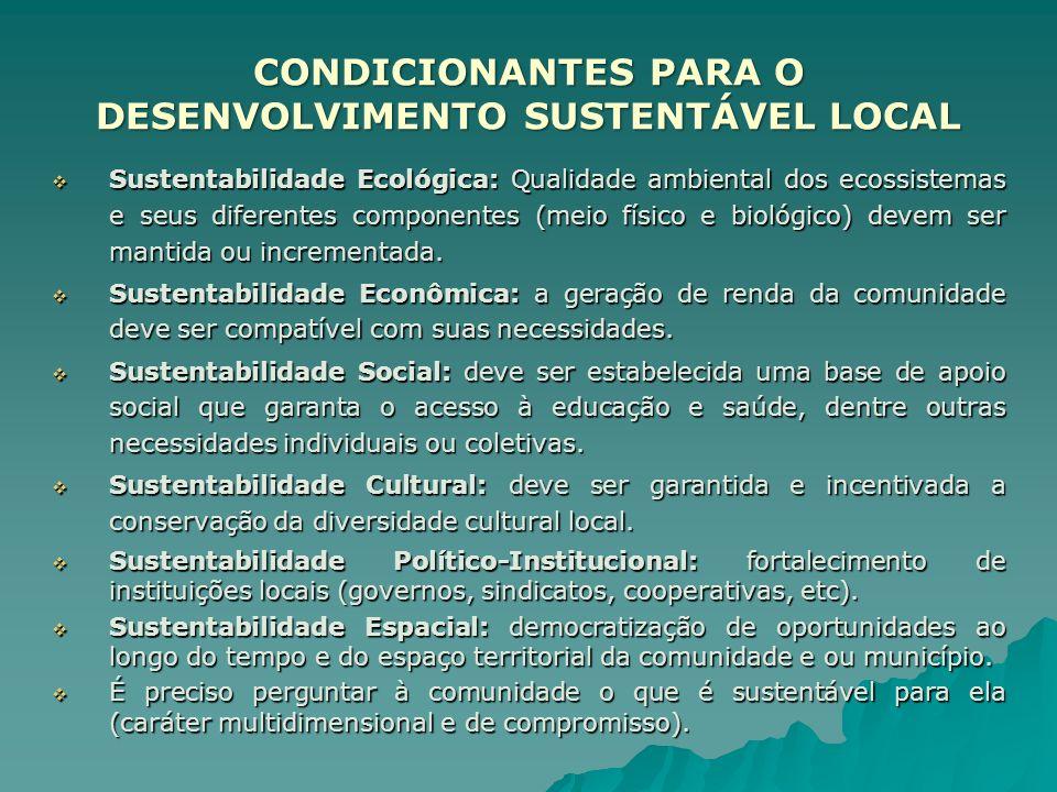 CONDICIONANTES PARA O DESENVOLVIMENTO SUSTENTÁVEL LOCAL