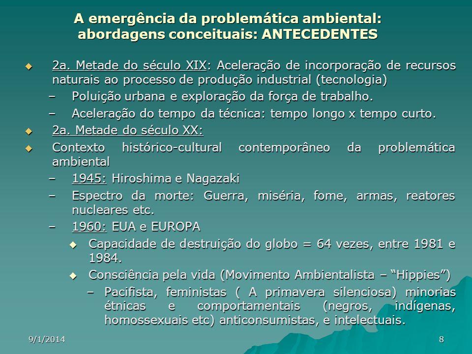 A emergência da problemática ambiental: abordagens conceituais: ANTECEDENTES