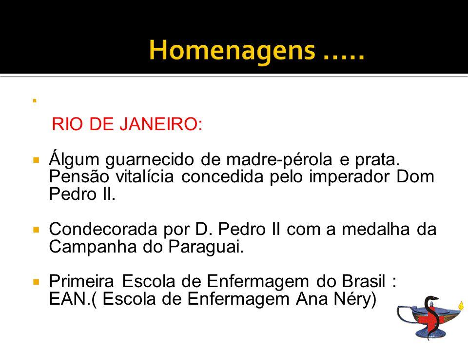 Homenagens ..... RIO DE JANEIRO: Álgum guarnecido de madre-pérola e prata. Pensão vitalícia concedida pelo imperador Dom Pedro II.