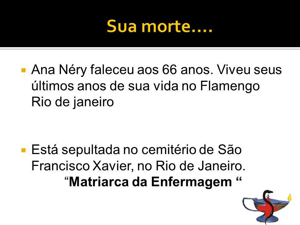 Sua morte.... Ana Néry faleceu aos 66 anos. Viveu seus últimos anos de sua vida no Flamengo Rio de janeiro.