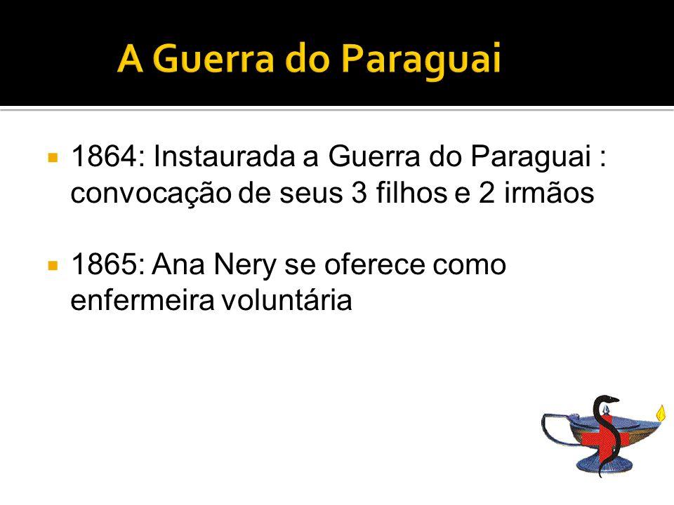 A Guerra do Paraguai 1864: Instaurada a Guerra do Paraguai : convocação de seus 3 filhos e 2 irmãos.