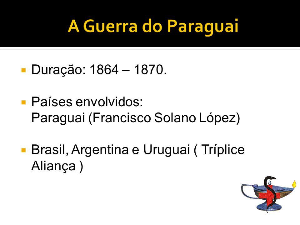 A Guerra do Paraguai Duração: 1864 – 1870.