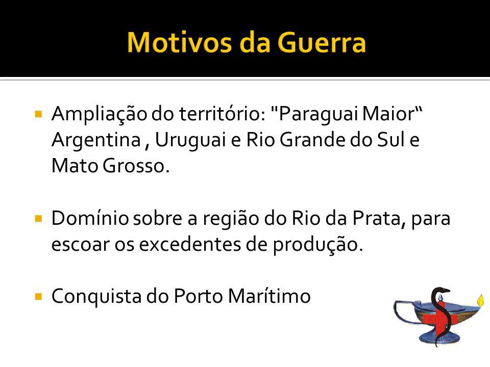 Motivos da Guerra Ampliação do território: Paraguai Maior Argentina , Uruguai e Rio Grande do Sul e Mato Grosso.