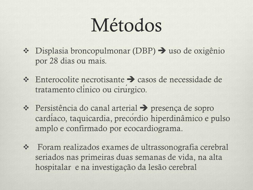 Métodos Displasia broncopulmonar (DBP)  uso de oxigênio por 28 dias ou mais.