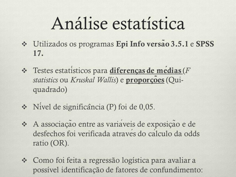 Análise estatística Utilizados os programas Epi Info versão 3.5.1 e SPSS 17.