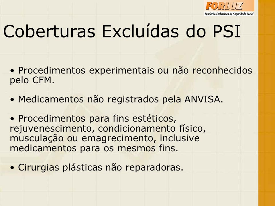 Coberturas Excluídas do PSI