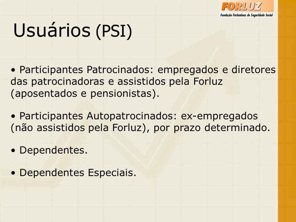 Usuários (PSI) Participantes Patrocinados: empregados e diretores das patrocinadoras e assistidos pela Forluz (aposentados e pensionistas).