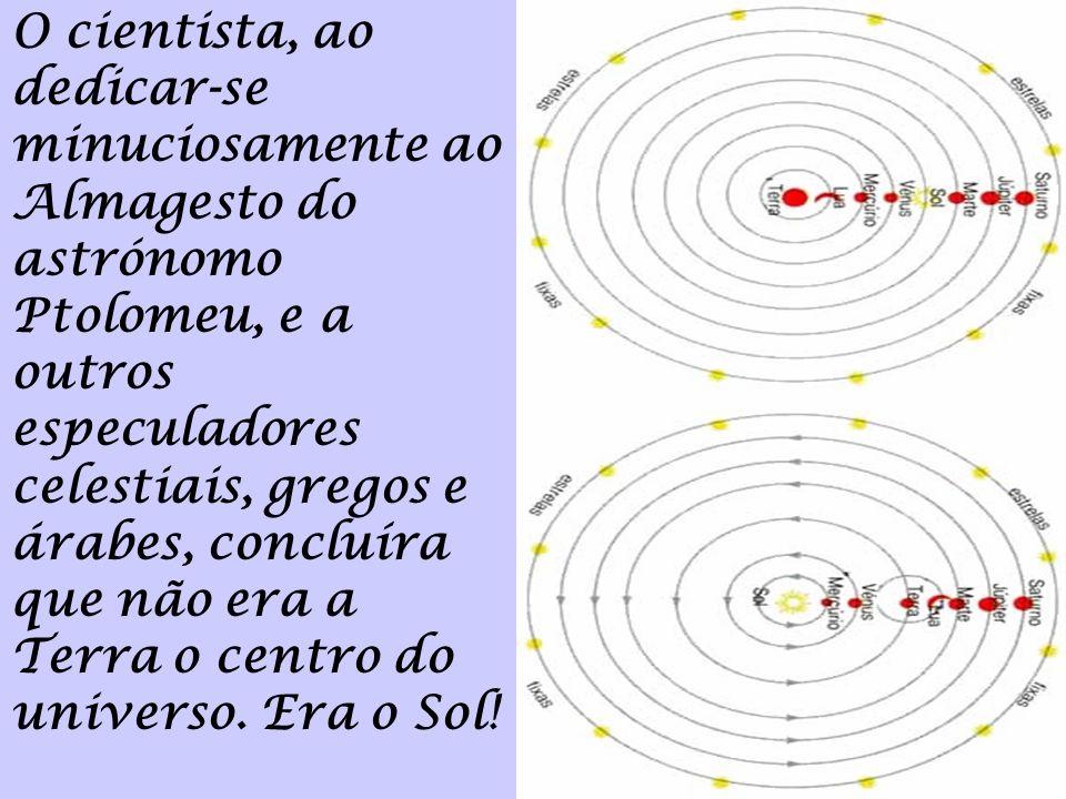 O cientista, ao dedicar-se minuciosamente ao Almagesto do astrónomo Ptolomeu, e a outros especuladores celestiais, gregos e árabes, concluíra que não era a Terra o centro do universo.