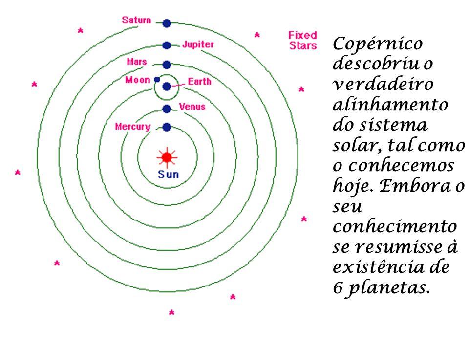 Copérnico descobriu o verdadeiro alinhamento do sistema solar, tal como o conhecemos hoje.