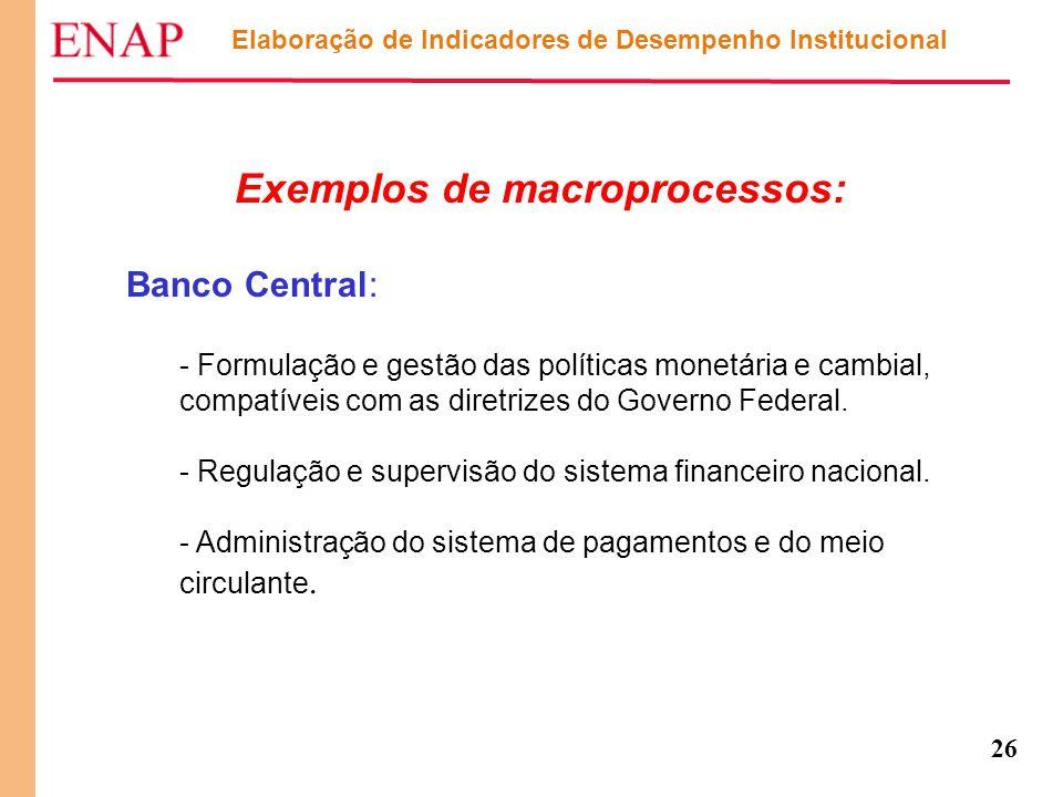 Exemplos de macroprocessos: