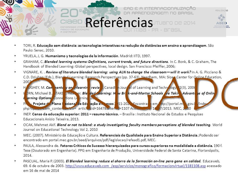 Referências TORI, R. Educação sem distância: as tecnologias interativas na redução de distâncias em ensino e aprendizagem. São Paulo: Senac, 2010.