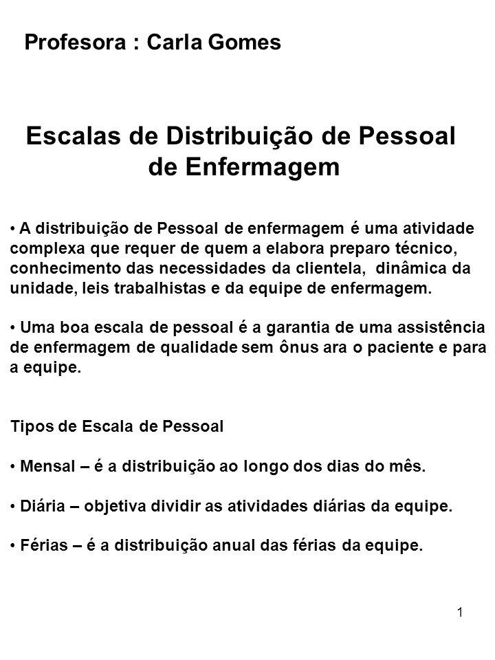 Escalas de Distribuição de Pessoal