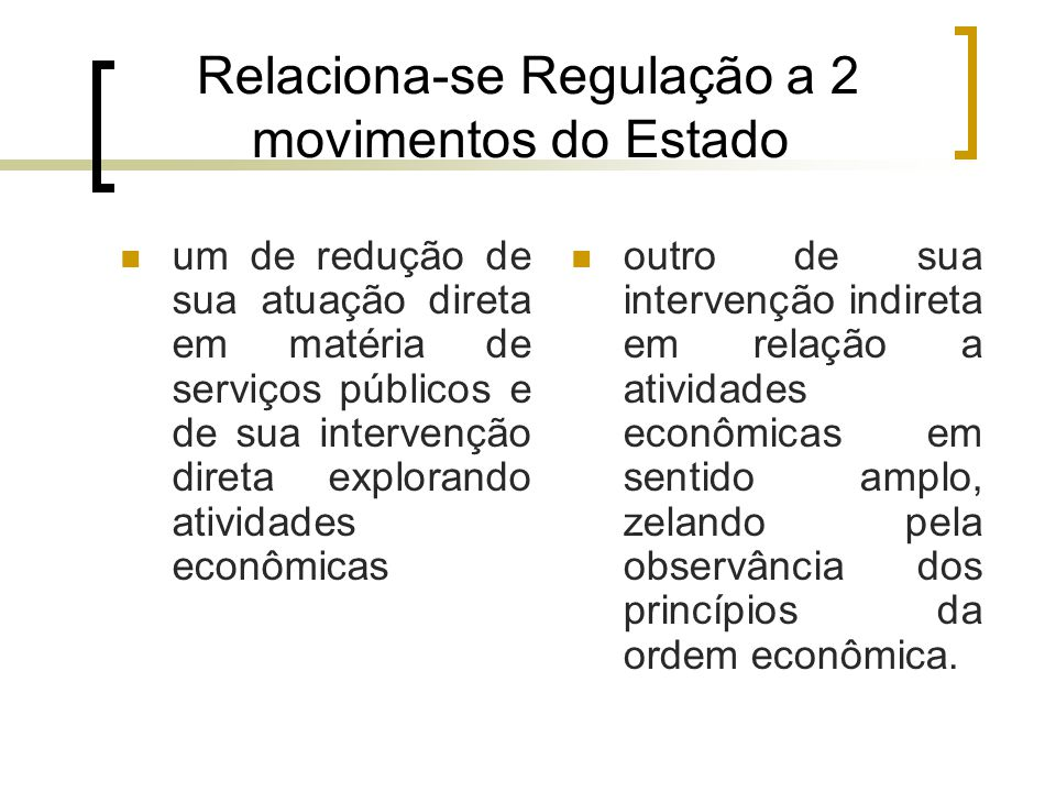 Relaciona-se Regulação a 2 movimentos do Estado
