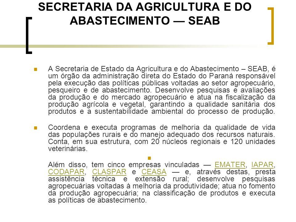 SECRETARIA DA AGRICULTURA E DO ABASTECIMENTO — SEAB