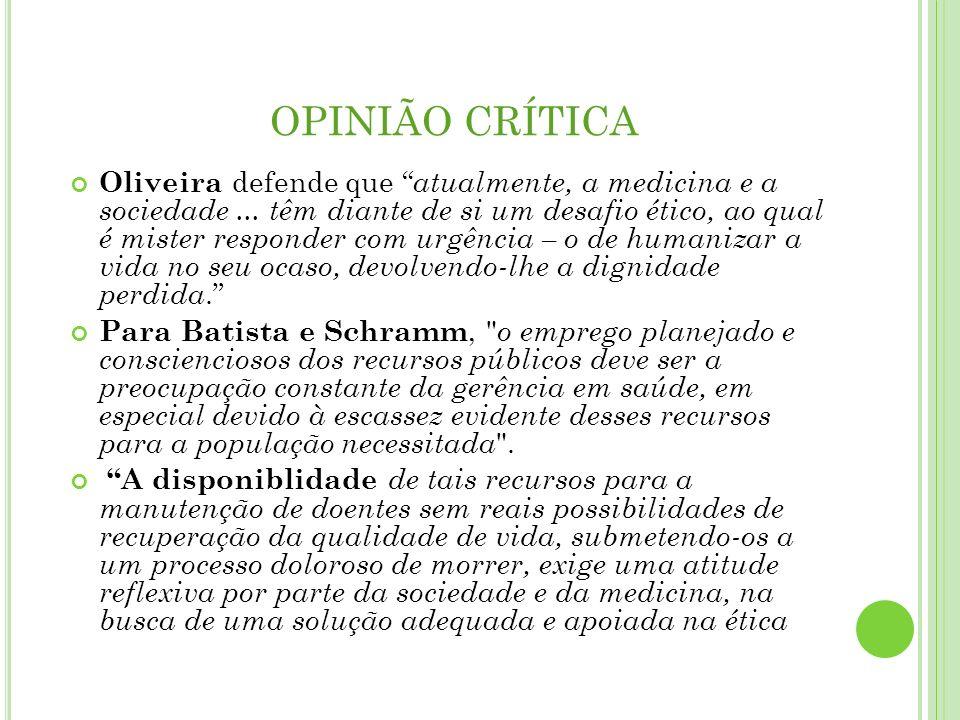 OPINIÃO CRÍTICA