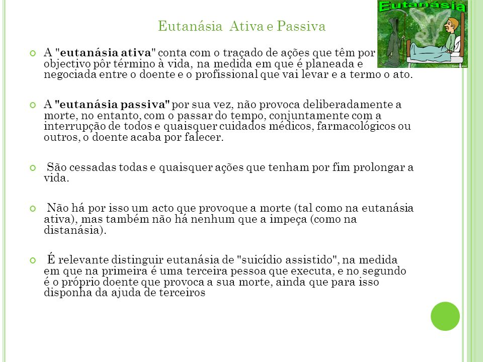 Eutanásia Ativa e Passiva