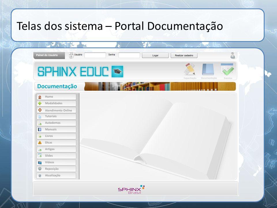 Telas dos sistema – Portal Documentação