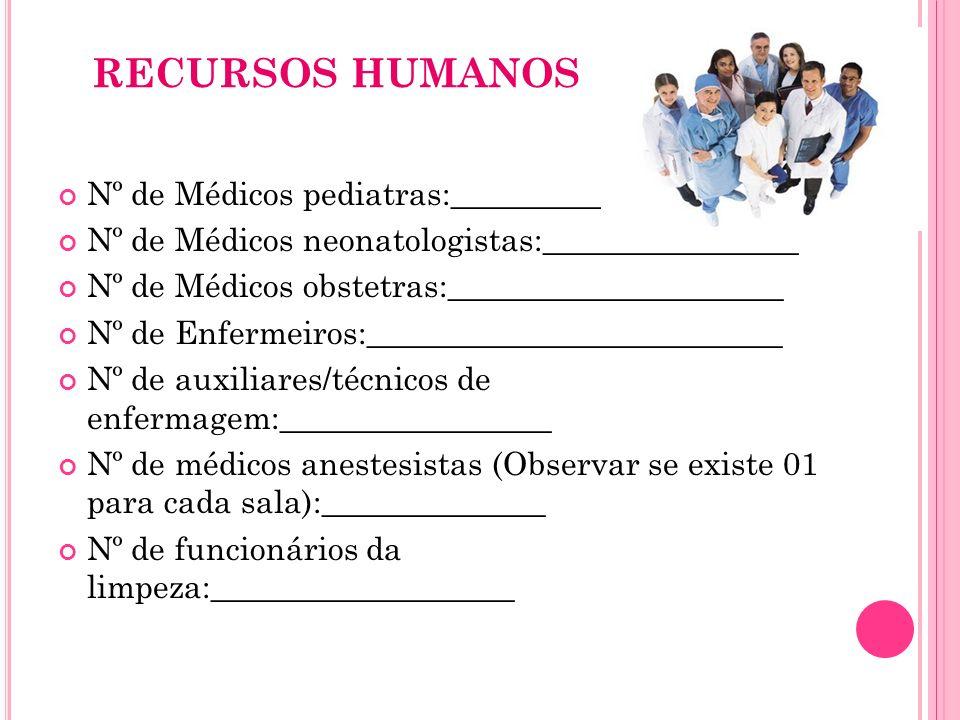 RECURSOS HUMANOS Nº de Médicos pediatras:_____________________