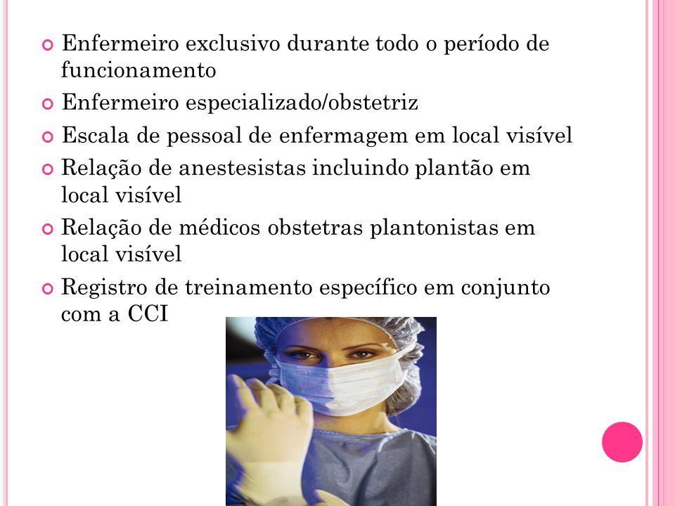 Enfermeiro exclusivo durante todo o período de funcionamento
