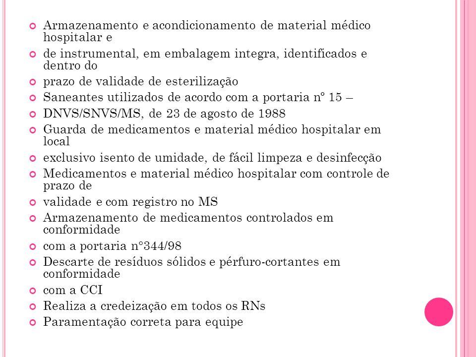 Armazenamento e acondicionamento de material médico hospitalar e