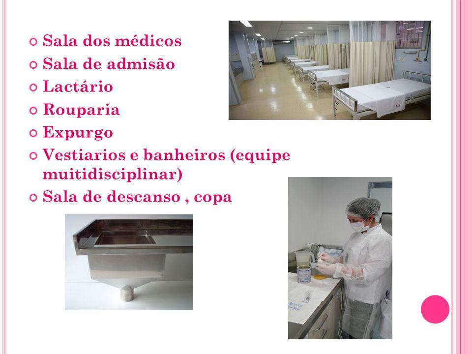 Sala dos médicos Sala de admisão. Lactário. Rouparia. Expurgo. Vestiarios e banheiros (equipe muitidisciplinar)