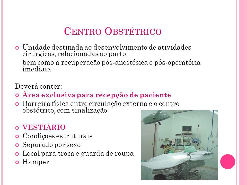 Centro Obstétrico Unidade destinada ao desenvolvimento de atividades cirúrgicas, relacionadas ao parto,