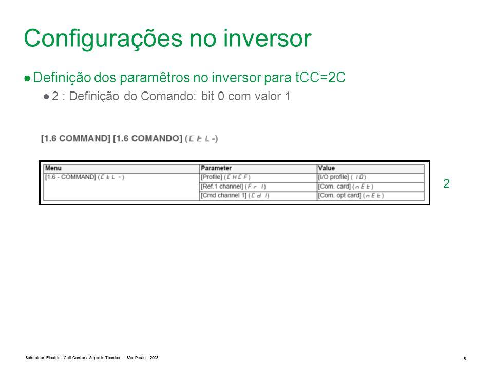 Configurações no inversor