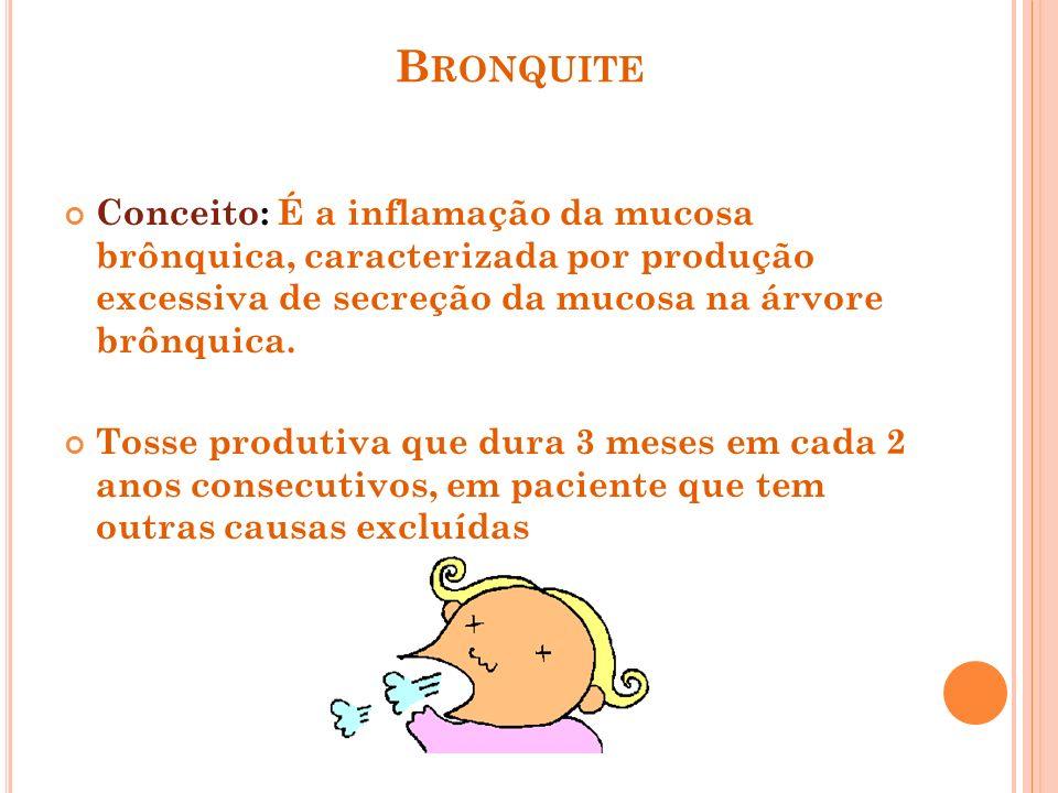 BronquiteConceito: É a inflamação da mucosa brônquica, caracterizada por produção excessiva de secreção da mucosa na árvore brônquica.