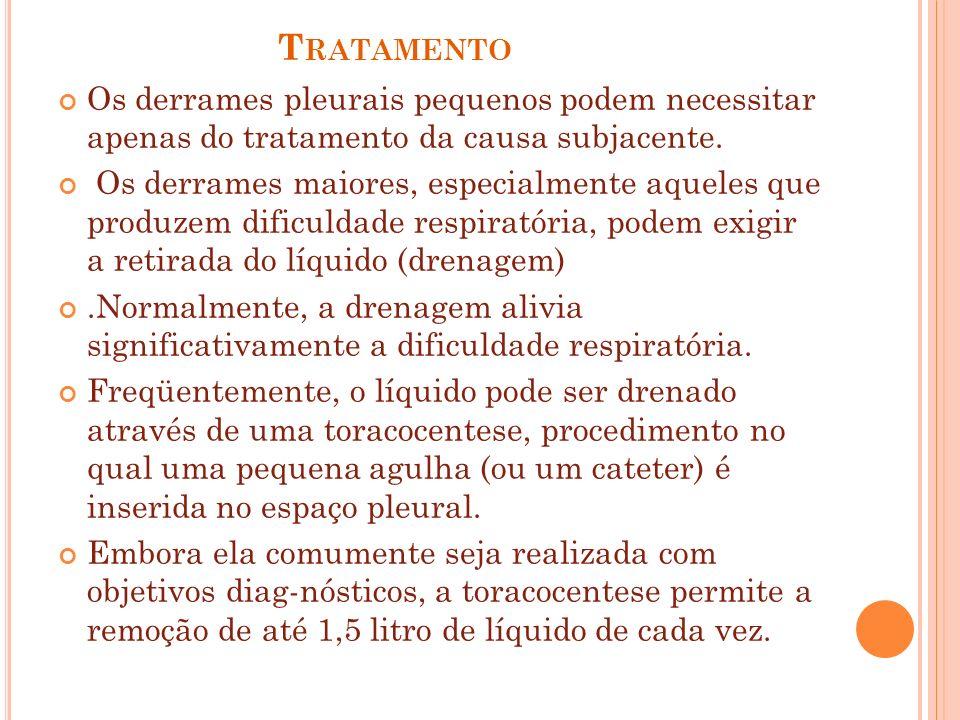 TratamentoOs derrames pleurais pequenos podem necessitar apenas do tratamento da causa subjacente.