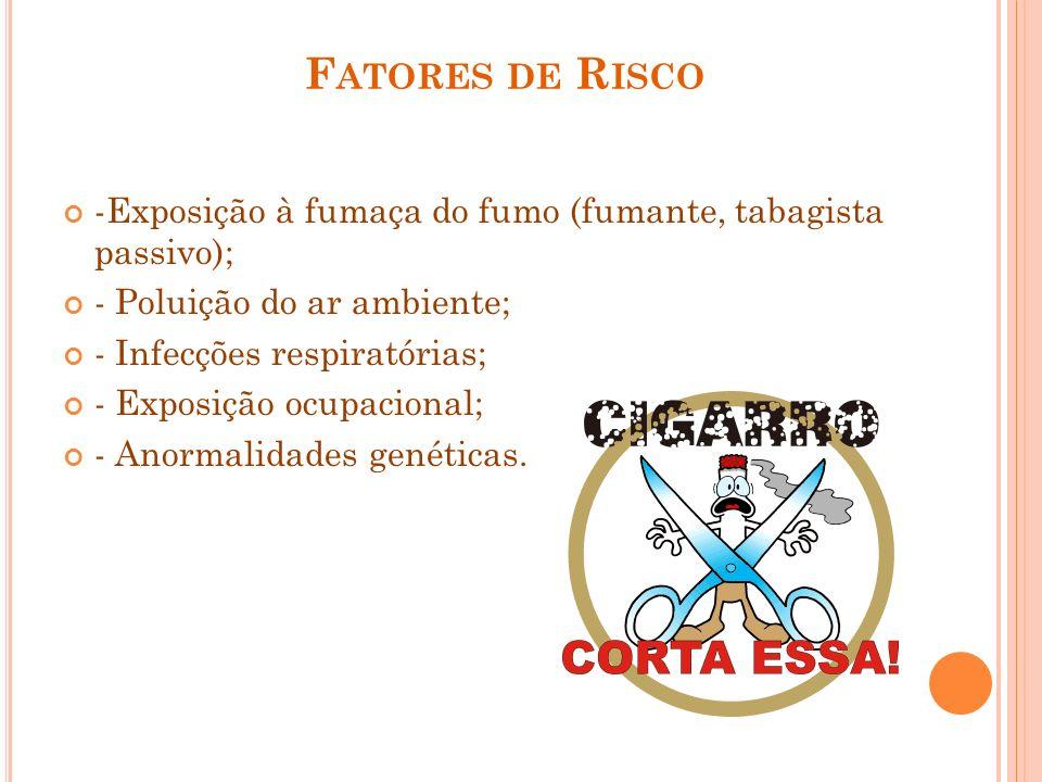 Fatores de Risco-Exposição à fumaça do fumo (fumante, tabagista passivo); - Poluição do ar ambiente;
