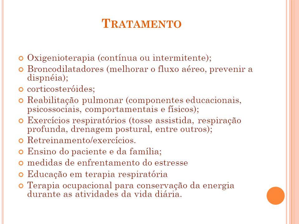 Tratamento Oxigenioterapia (contínua ou intermitente);