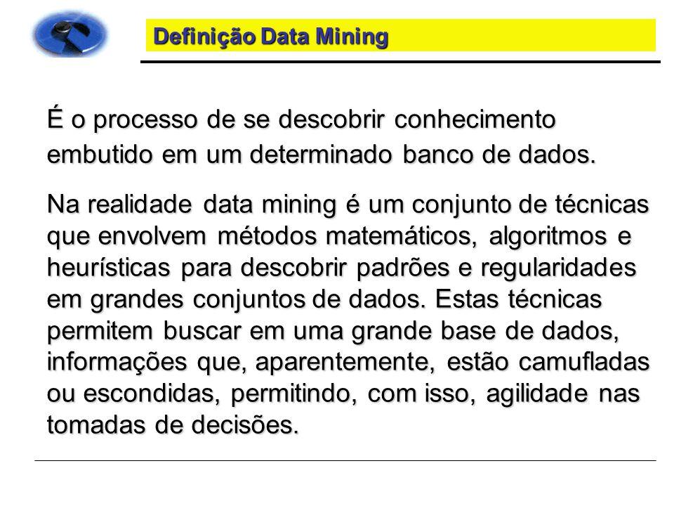 Definição Data Mining É o processo de se descobrir conhecimento embutido em um determinado banco de dados.