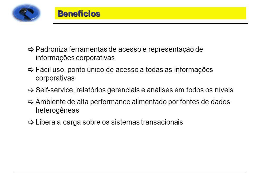Benefícios Padroniza ferramentas de acesso e representação de informações corporativas.