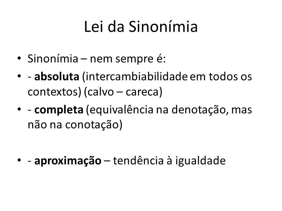 Lei da Sinonímia Sinonímia – nem sempre é:
