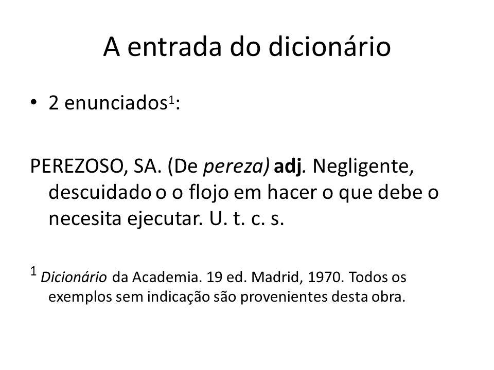 A entrada do dicionário