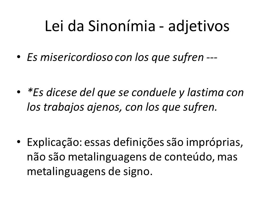 Lei da Sinonímia - adjetivos