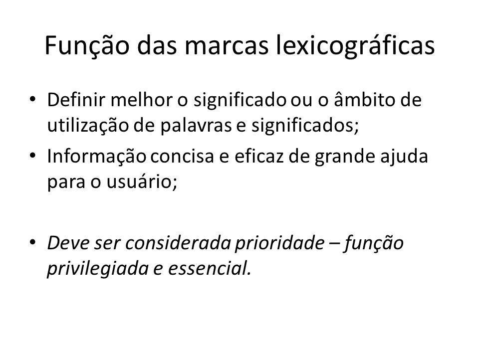 Função das marcas lexicográficas