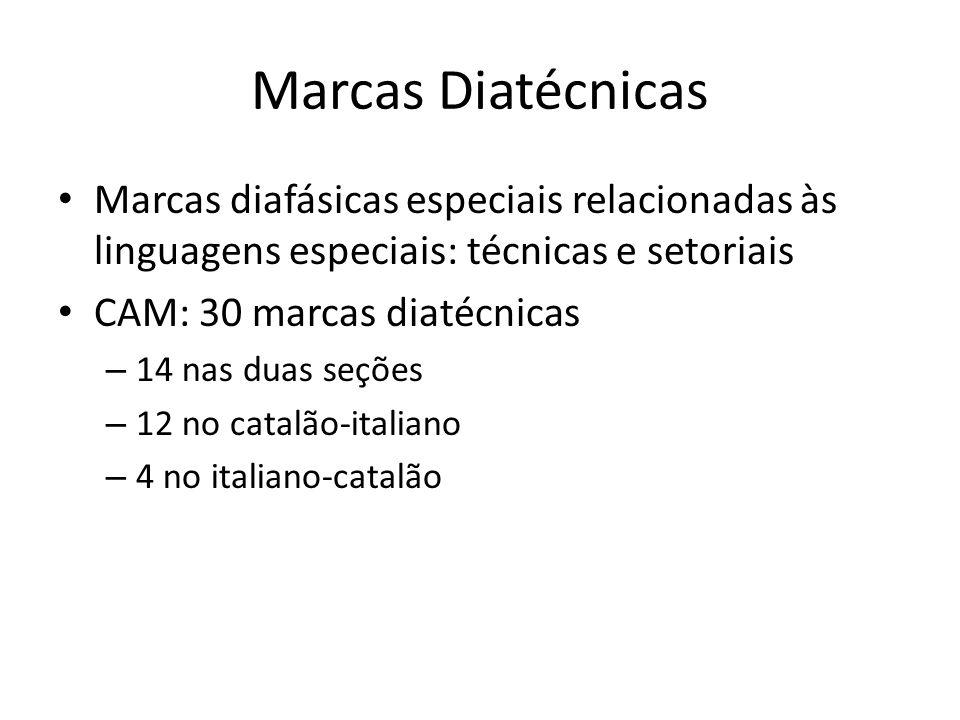 Marcas Diatécnicas Marcas diafásicas especiais relacionadas às linguagens especiais: técnicas e setoriais.